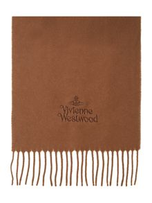 Bronze embroided logo wool scarf