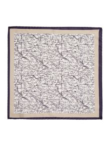 Corsivo Oronzo map detail Italian silk pocket square