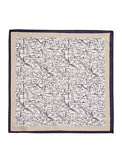 Oronzo map detail Italian silk pocket square