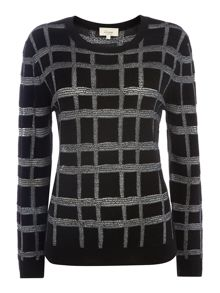 Grid check detail sweater