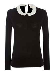Detachable collar knit jumper