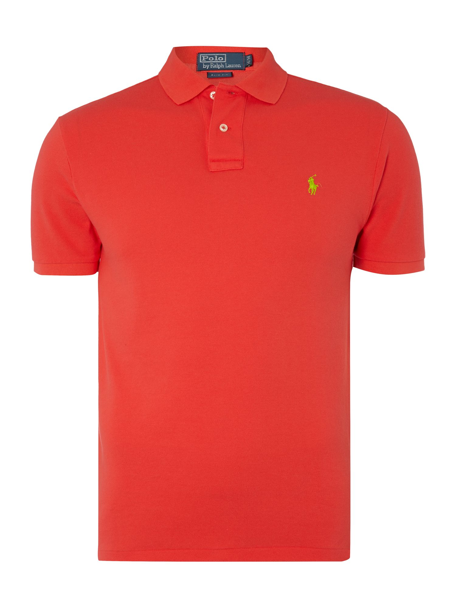 Solid weathered mesh slim fit polo