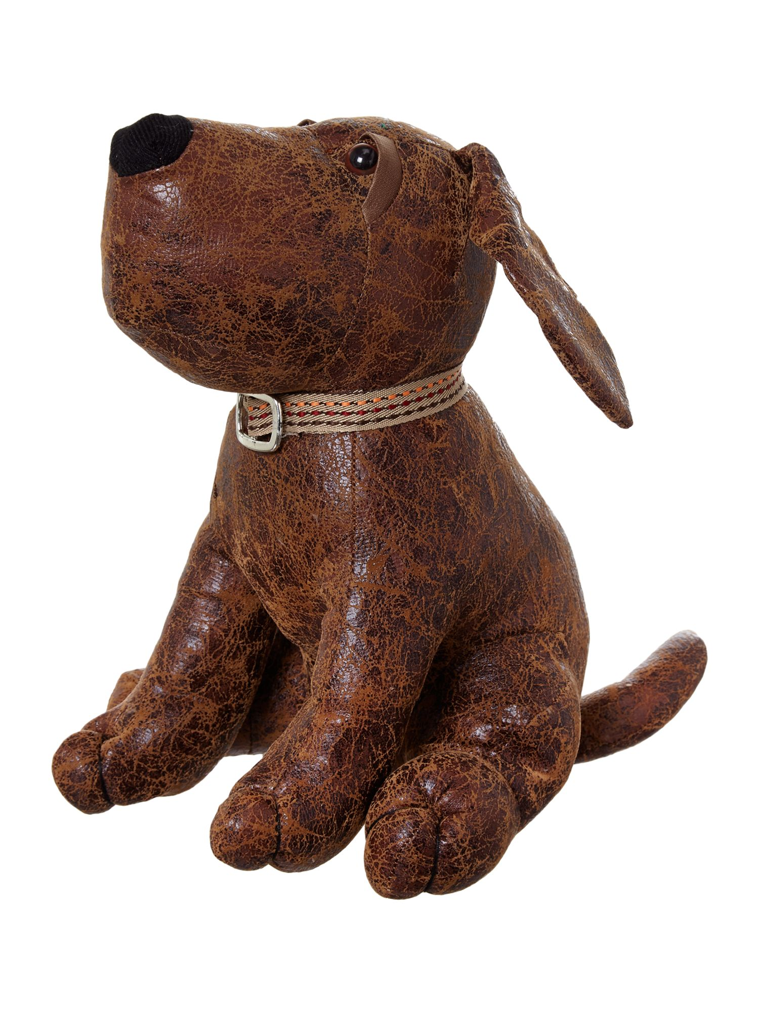 Dog leather- look doorstop
