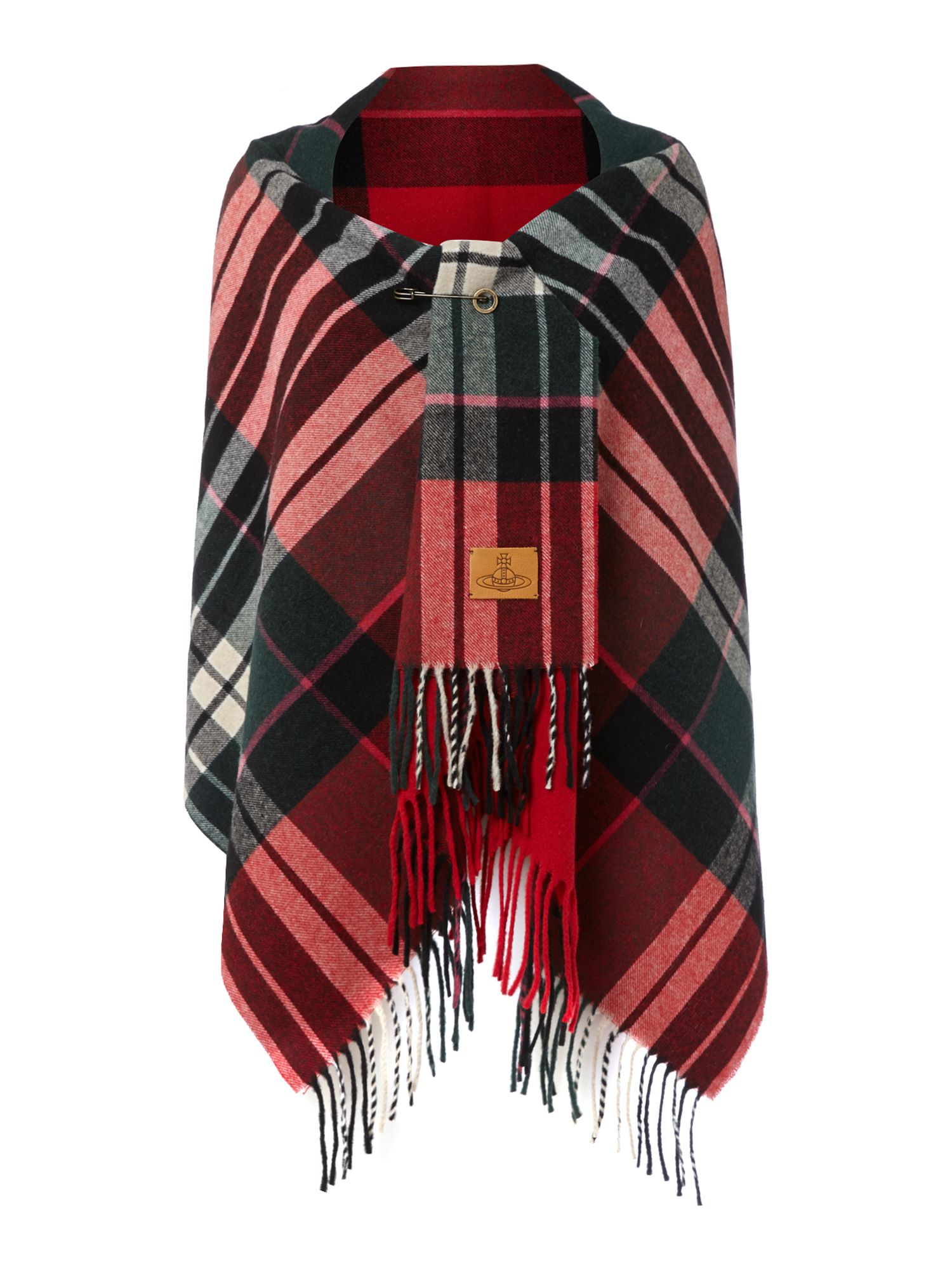 Tartan blanket wool mix scarf