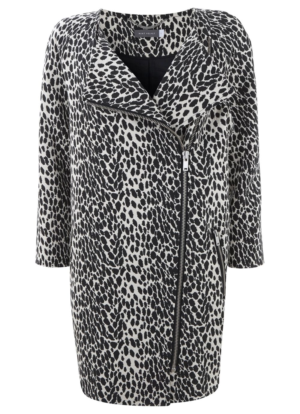 Black & cream leopard print coat