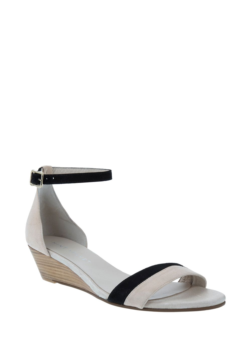 Nude & black livia wedge