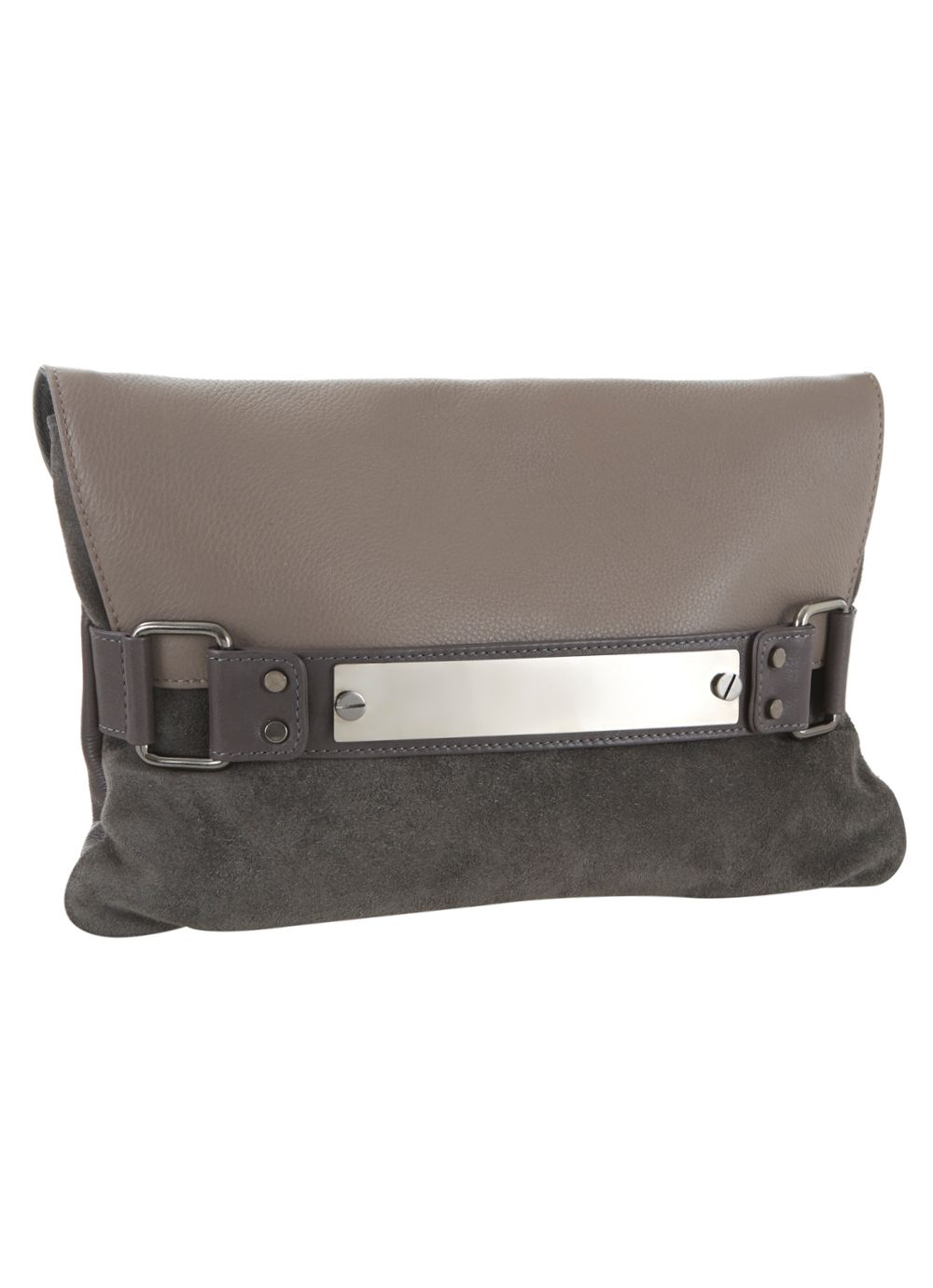 Mink & grey emily clutch bag