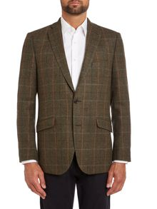 Brown regular fit jacket with blue check