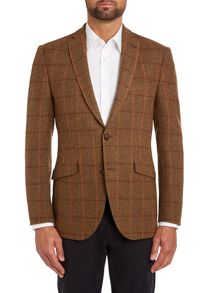 Barbour Olive check regular fit jacket with orange trim