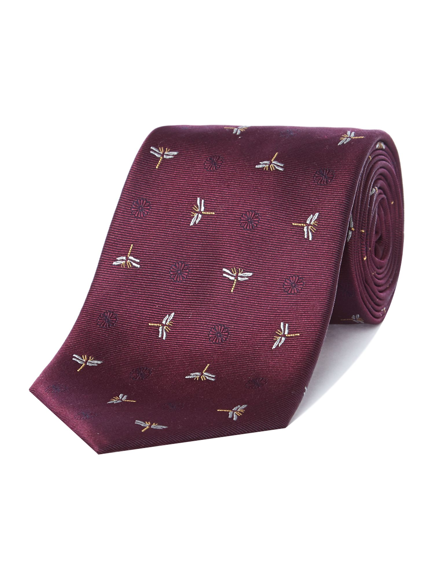 Fullety dragonfly rib silk satin tie