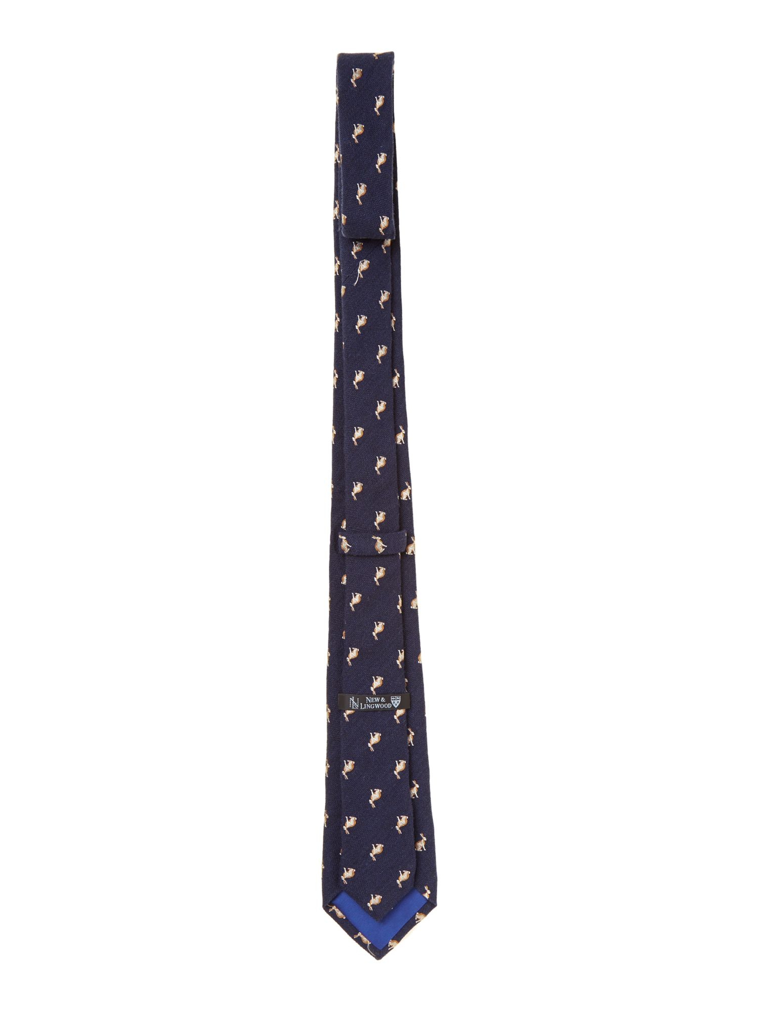 Springthorpe rabbit jacquard silk wool tie