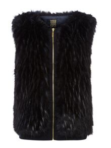 Blue faux fur zip gilet