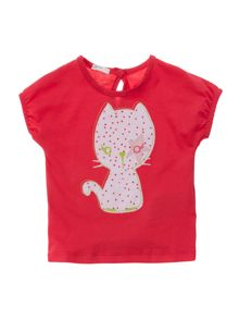 Girls kitty applique t-shirt