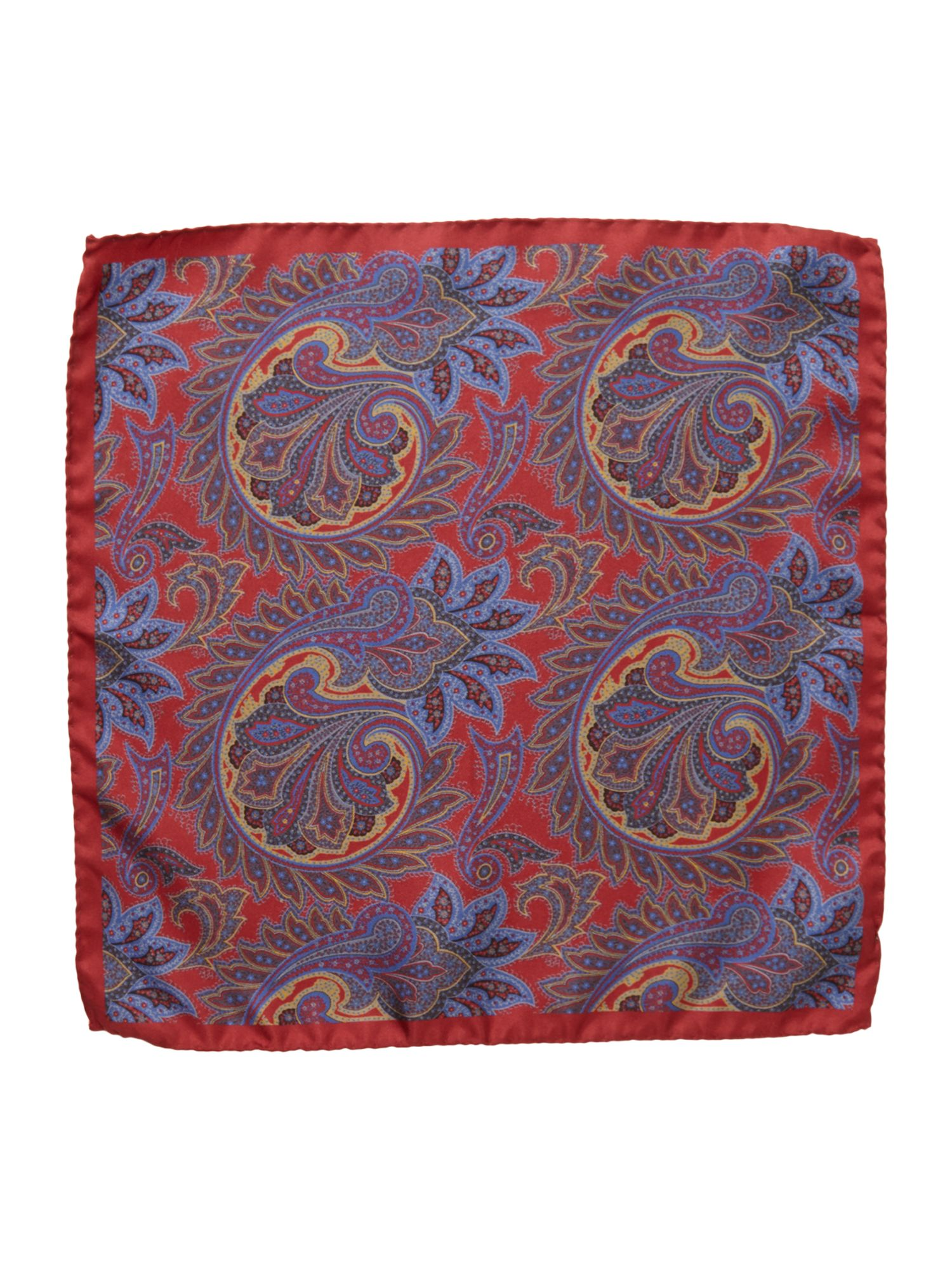 Stewton large paisley rib silk pocket square