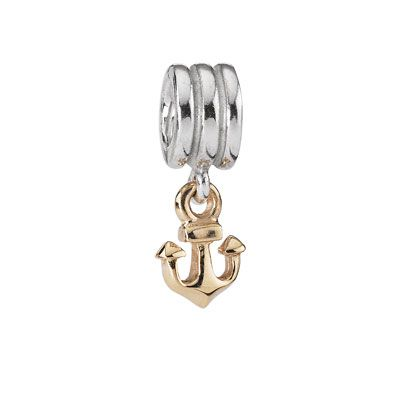 Gold anchor 14ct silver charm
