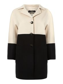 Pace colour block double faced wool coat