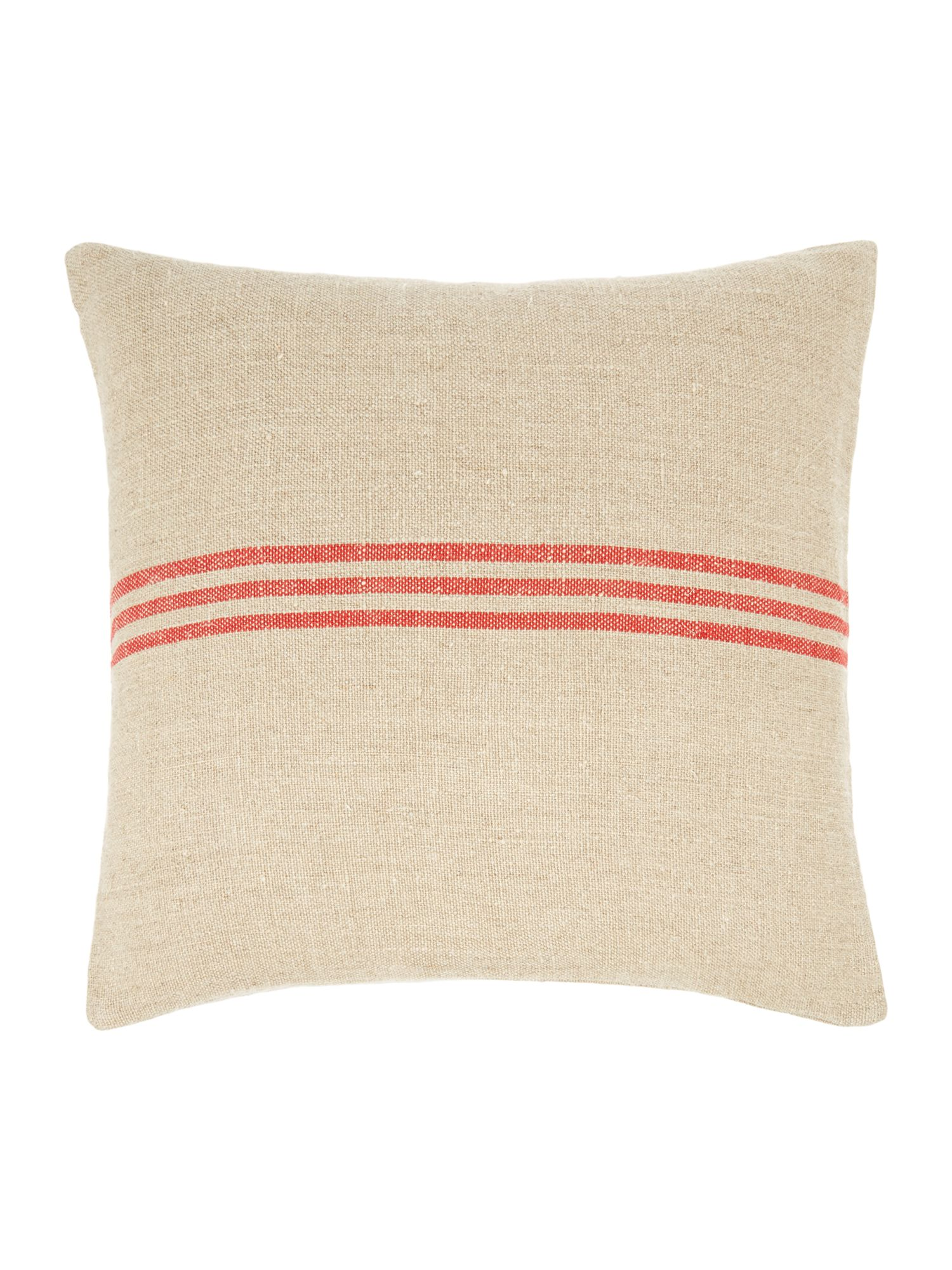 Linen stripe cushion, red