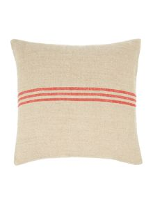 Linea Linen stripe cushion, red