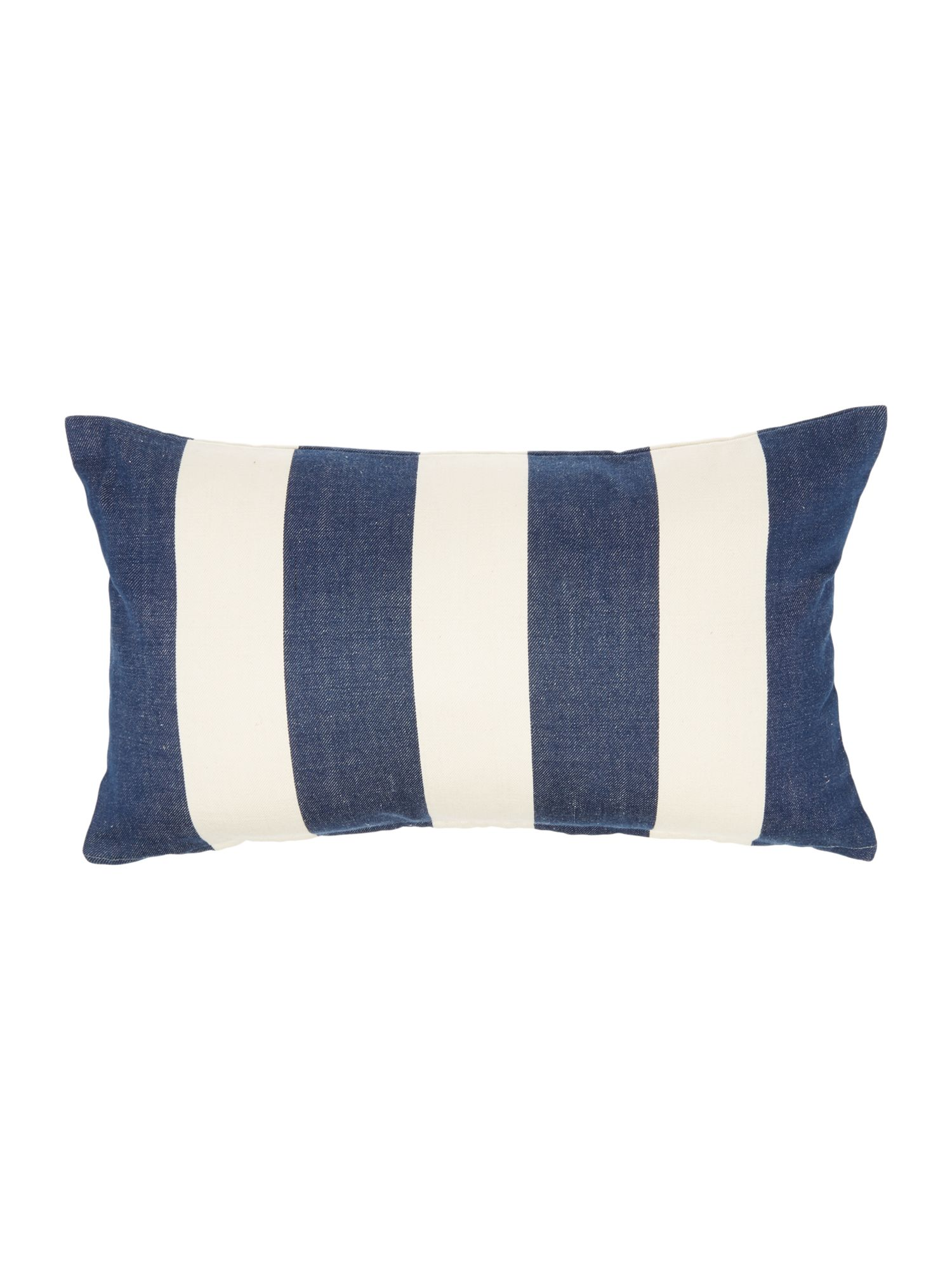 Embroidered logo navy striped cushion