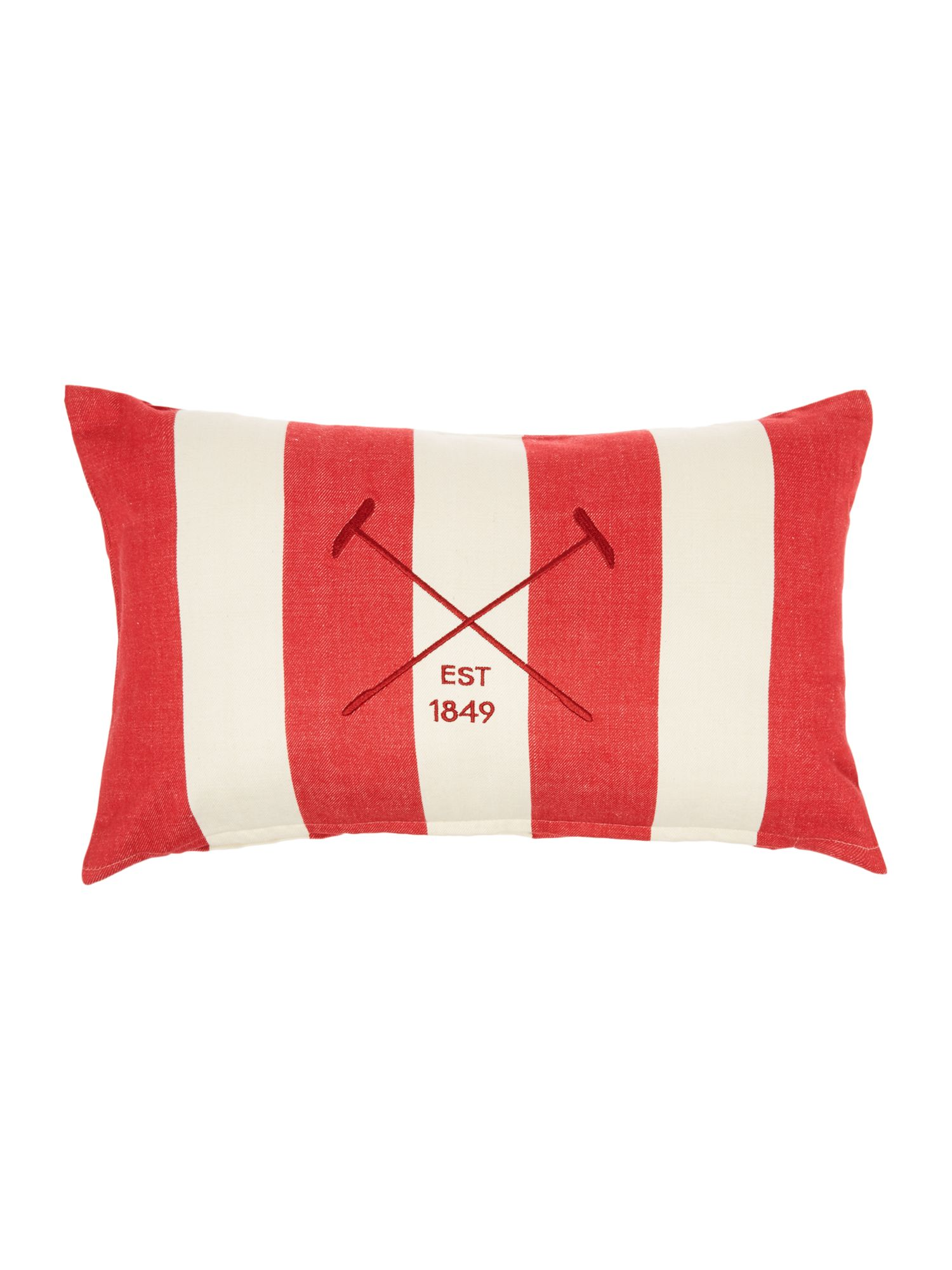 house of fraser linea embroidered logo red striped cushion. Black Bedroom Furniture Sets. Home Design Ideas