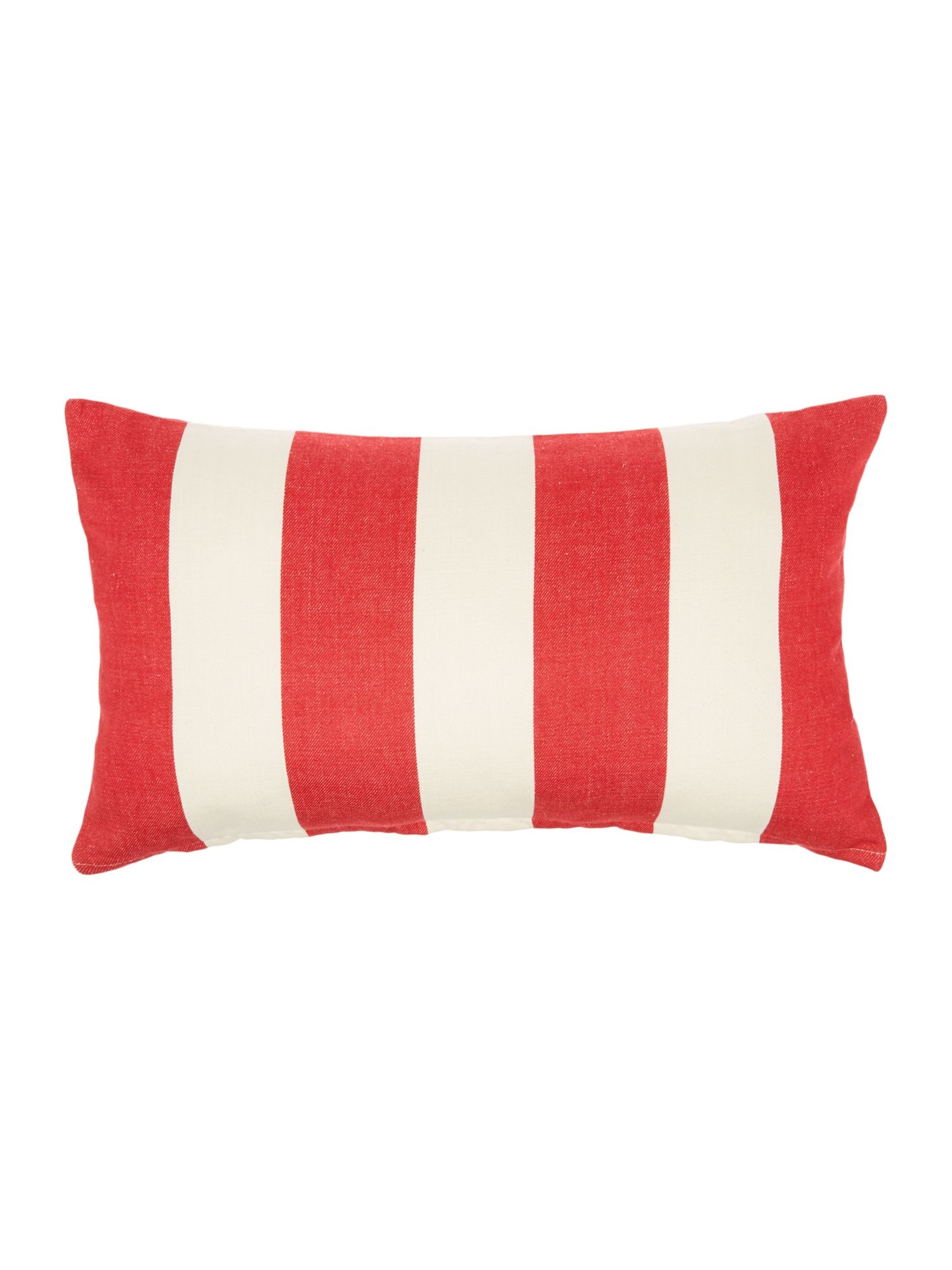 Embroidered logo red striped cushion