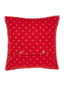 Star embroidered felt cushion, red