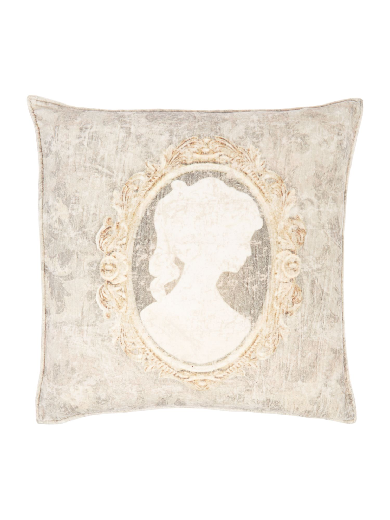 Female cameo printed velvet cushion