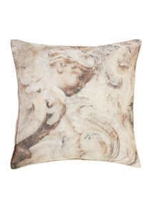 Cherub printed velvet cushion
