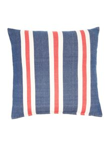Oversized woven stripe cushion, navy