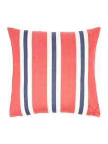 Oversized woven stripe cushion, red