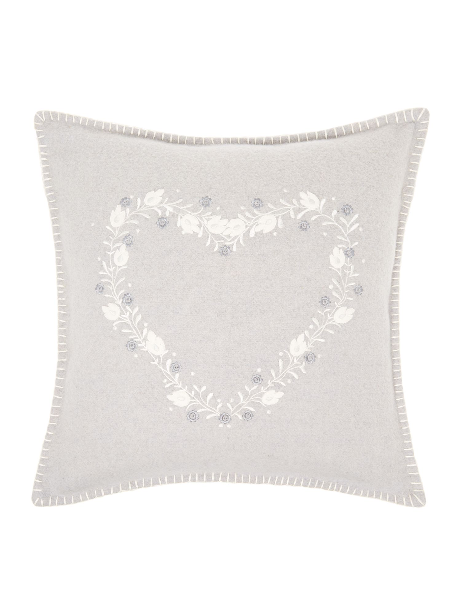 Heart embroidered felt cushion, grey