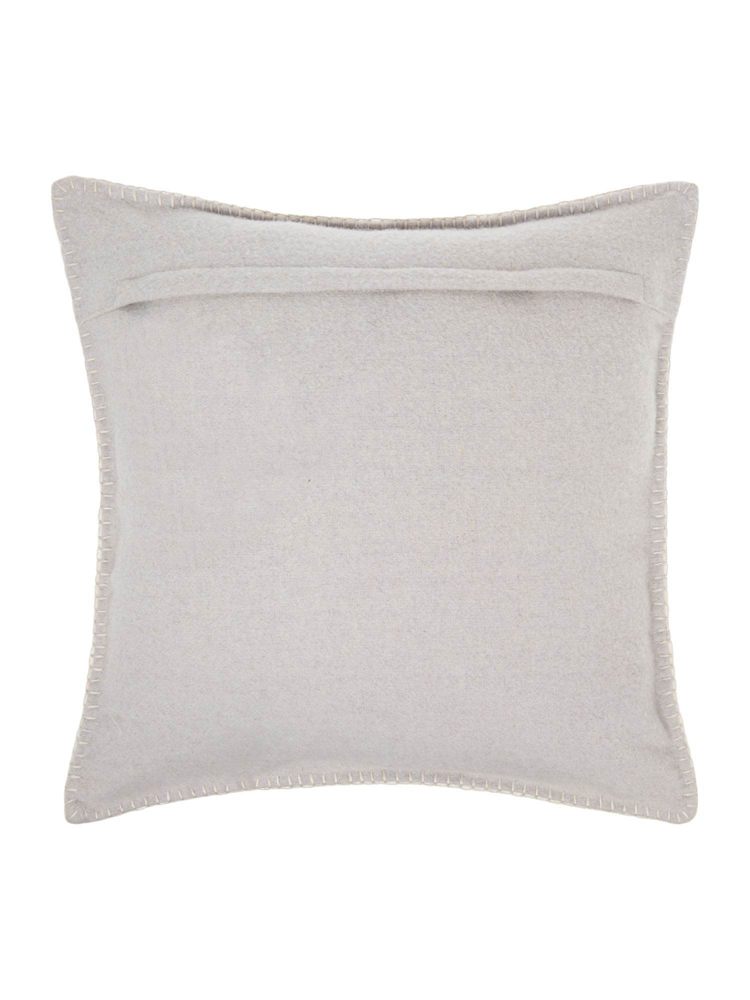Heart embroidered felt cushion, cream