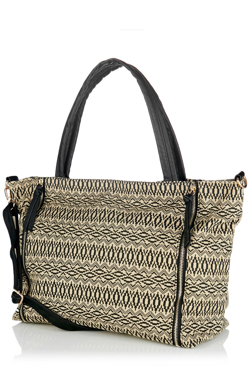 Double zip canvas shopper bag