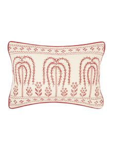 Embroidered folk cushion, red