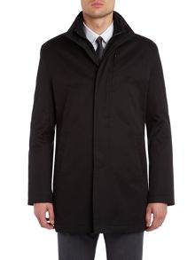 Newport zip front funnel neck coat with rib neck