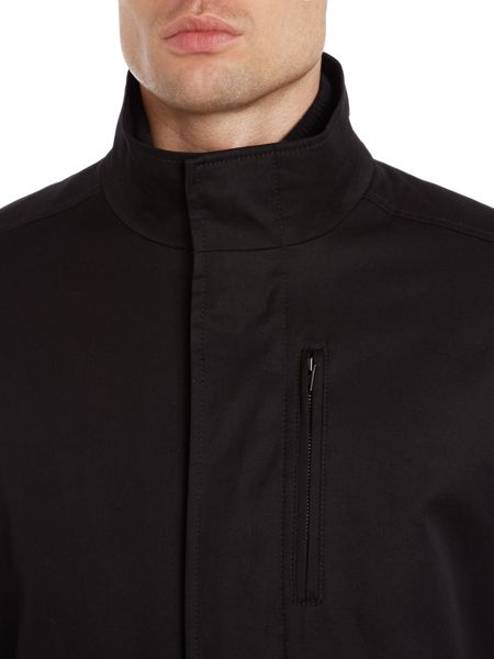 Kenneth Cole Newport zip front funnel neck coat with rib neck