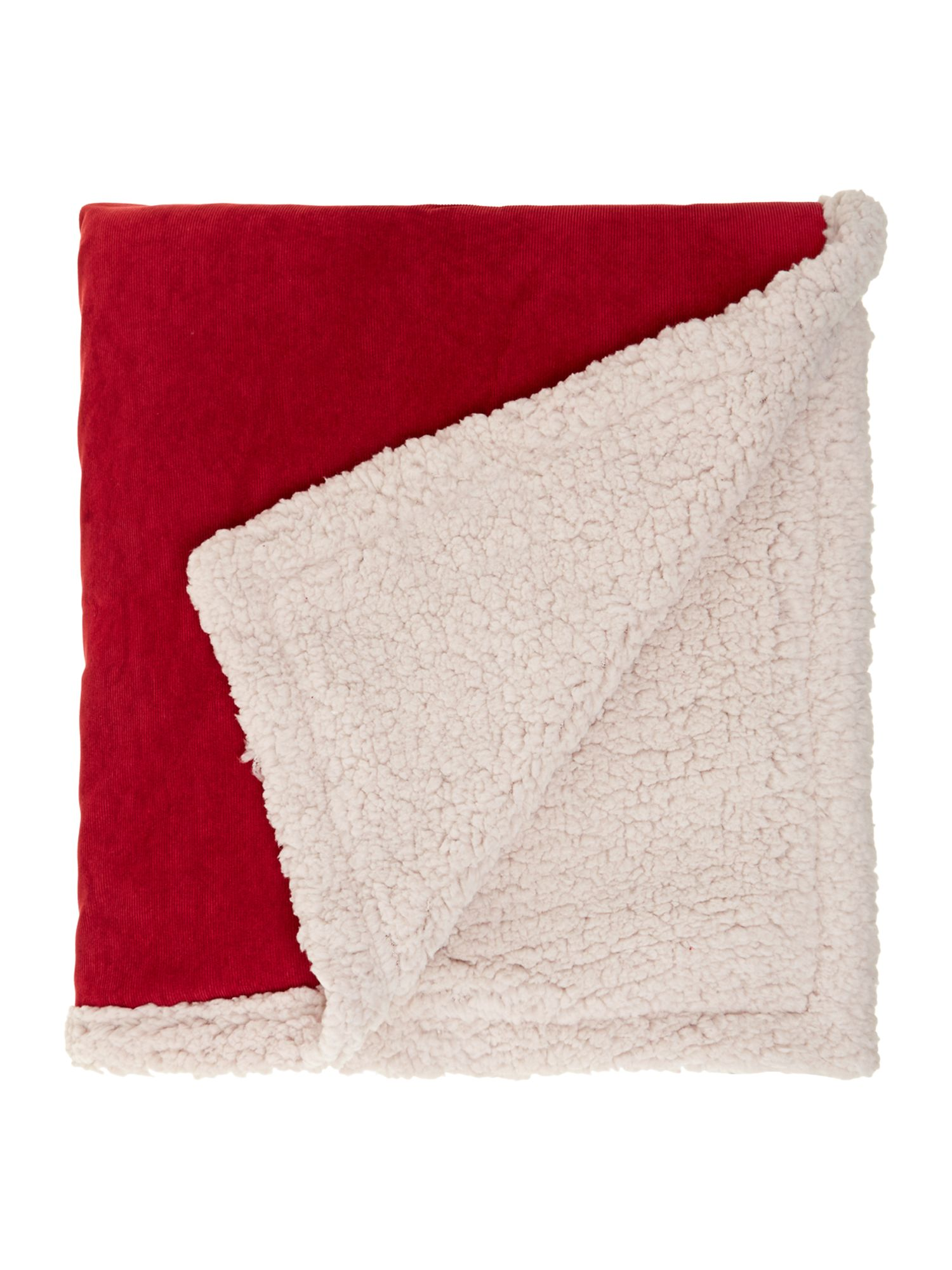 Corduroy  fleece throw red