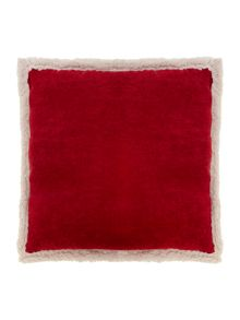 Corduroy fleece cushion red