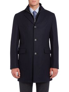 Corsivo Scala twill coat with funnel zip through detail