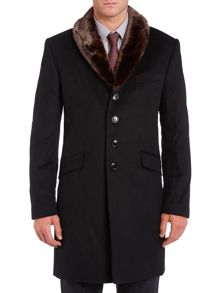 Corsivo Corsini cashmere blend coat with faux fur collar