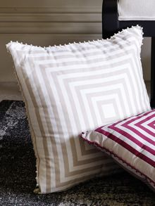 Rosemont chalk cushion pom pom trim