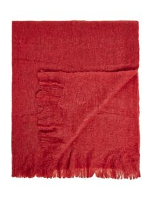 Deep red cosy knit throw