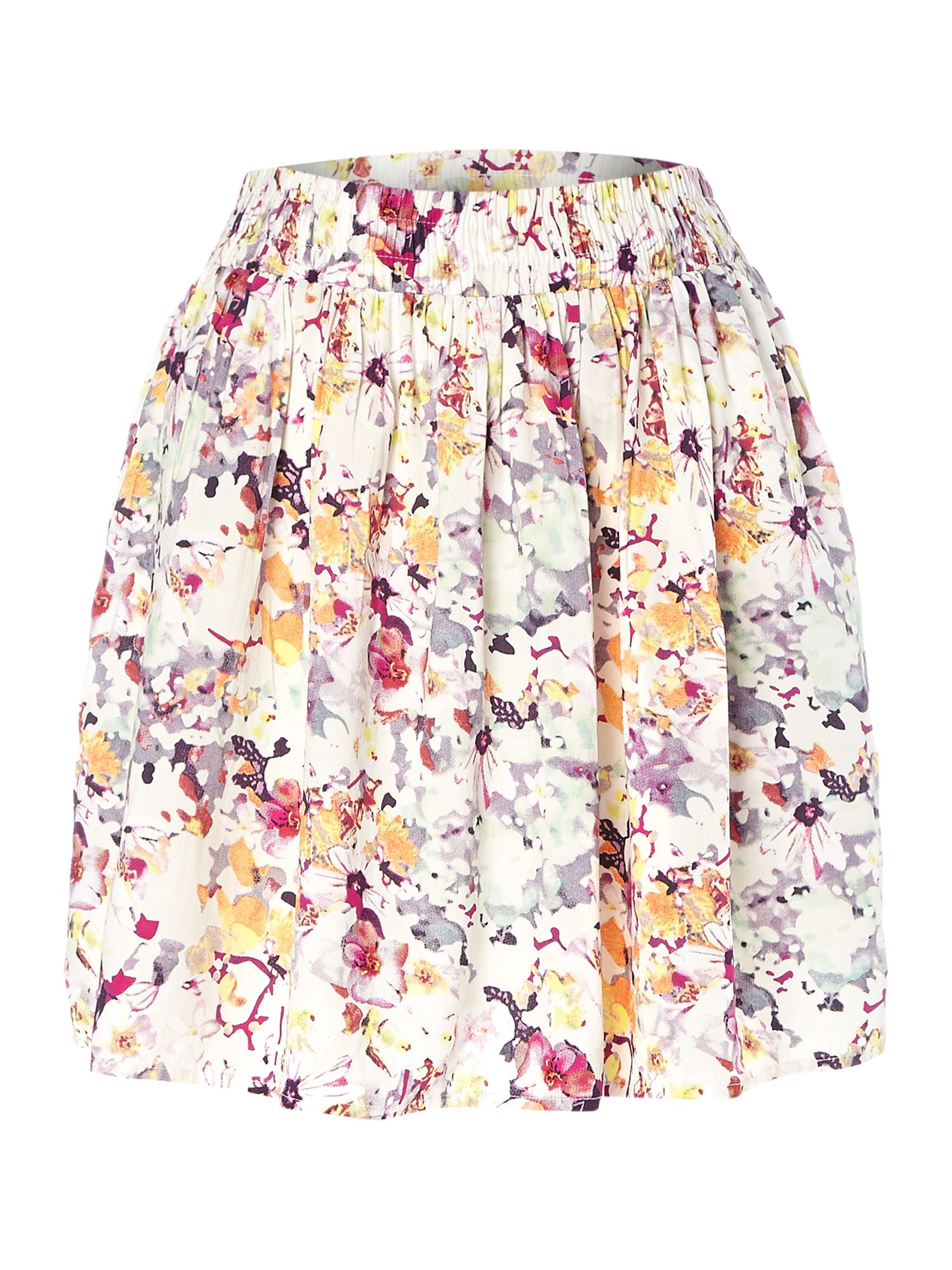 Floral gathered waist skirt