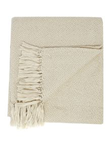 White & silver sparkle knit throw