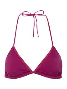 Stitch detail triangle bikini top