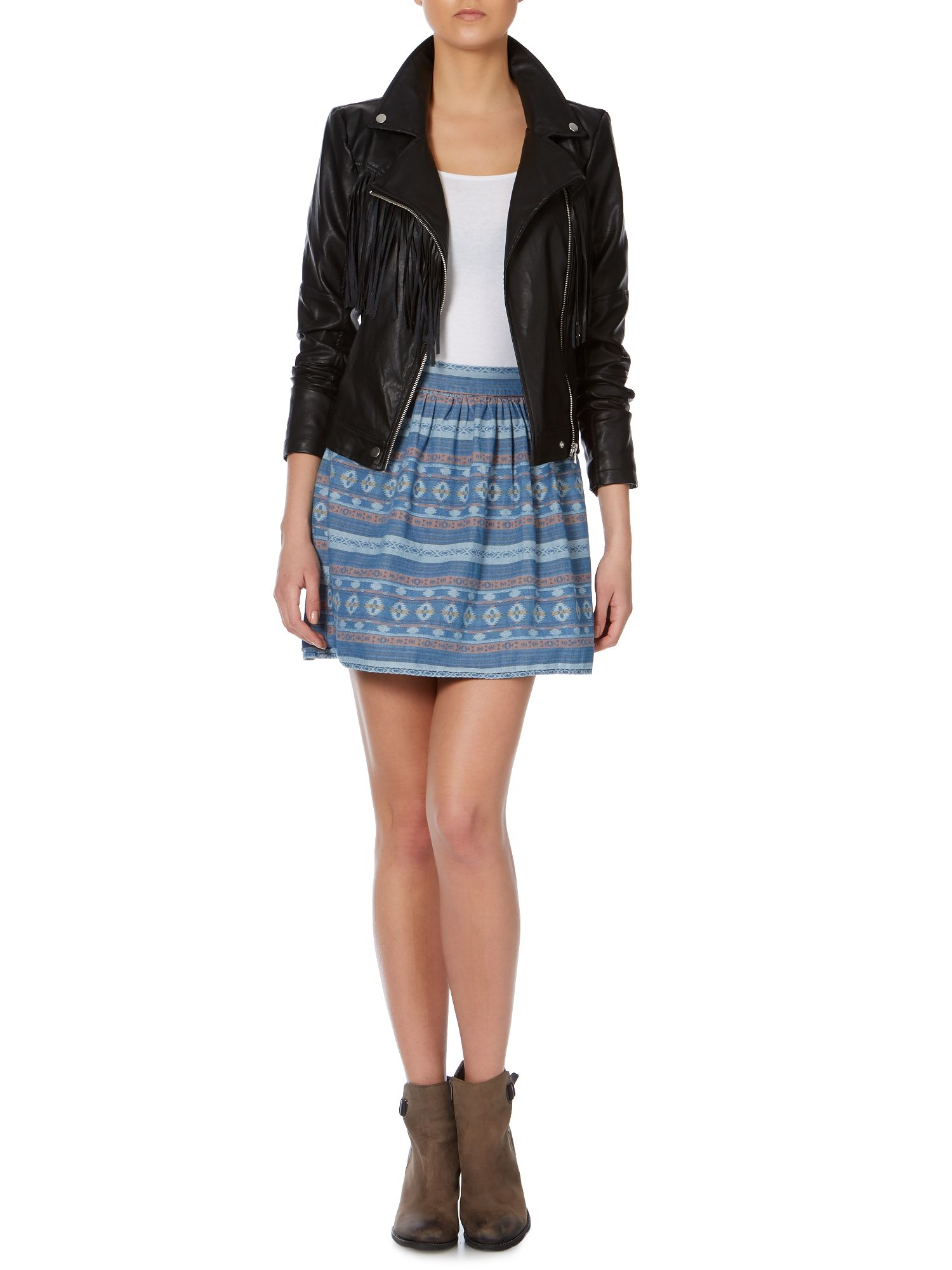 Tribal print denim skirt