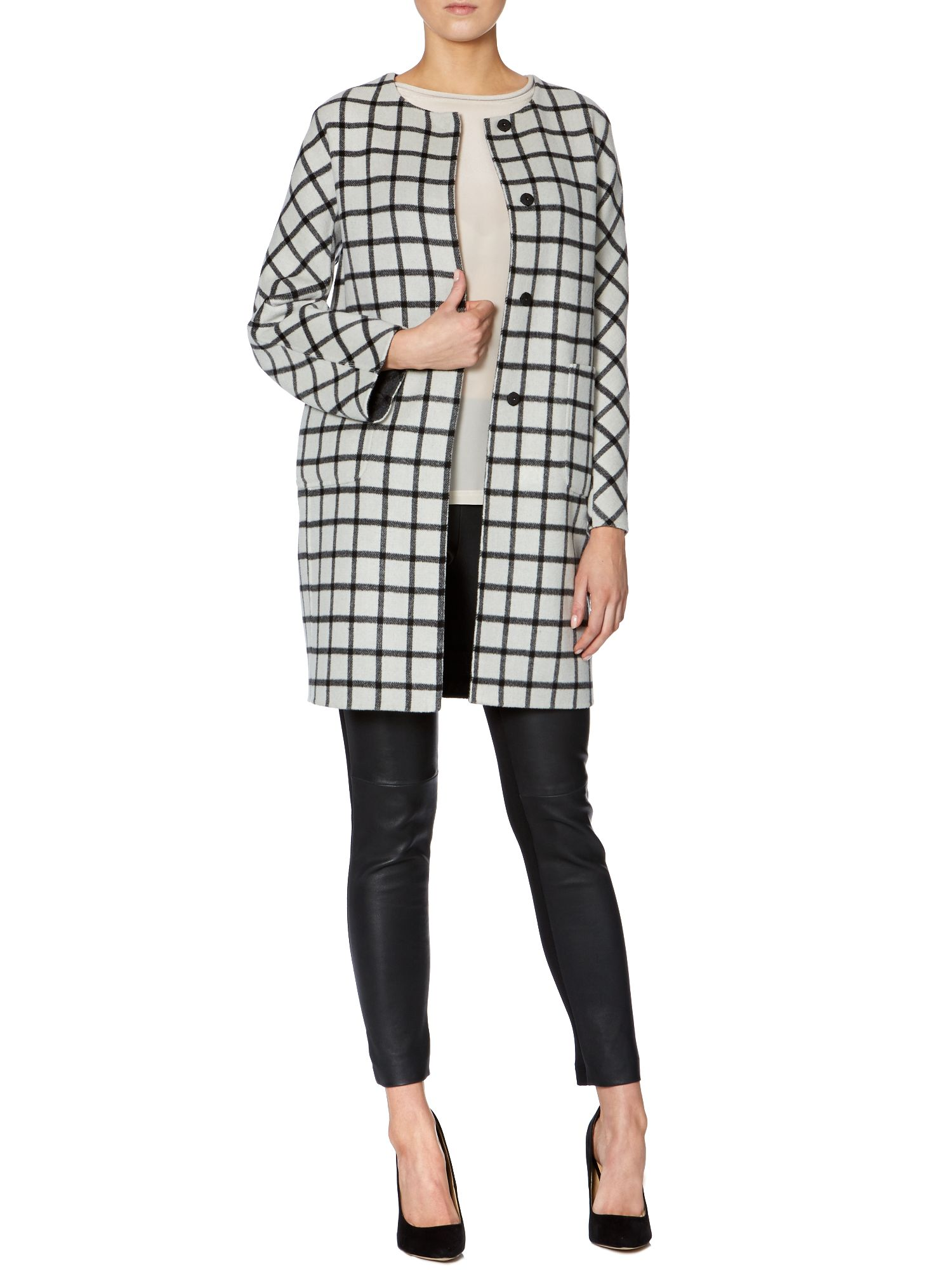 Zelma double faced wool checked coat
