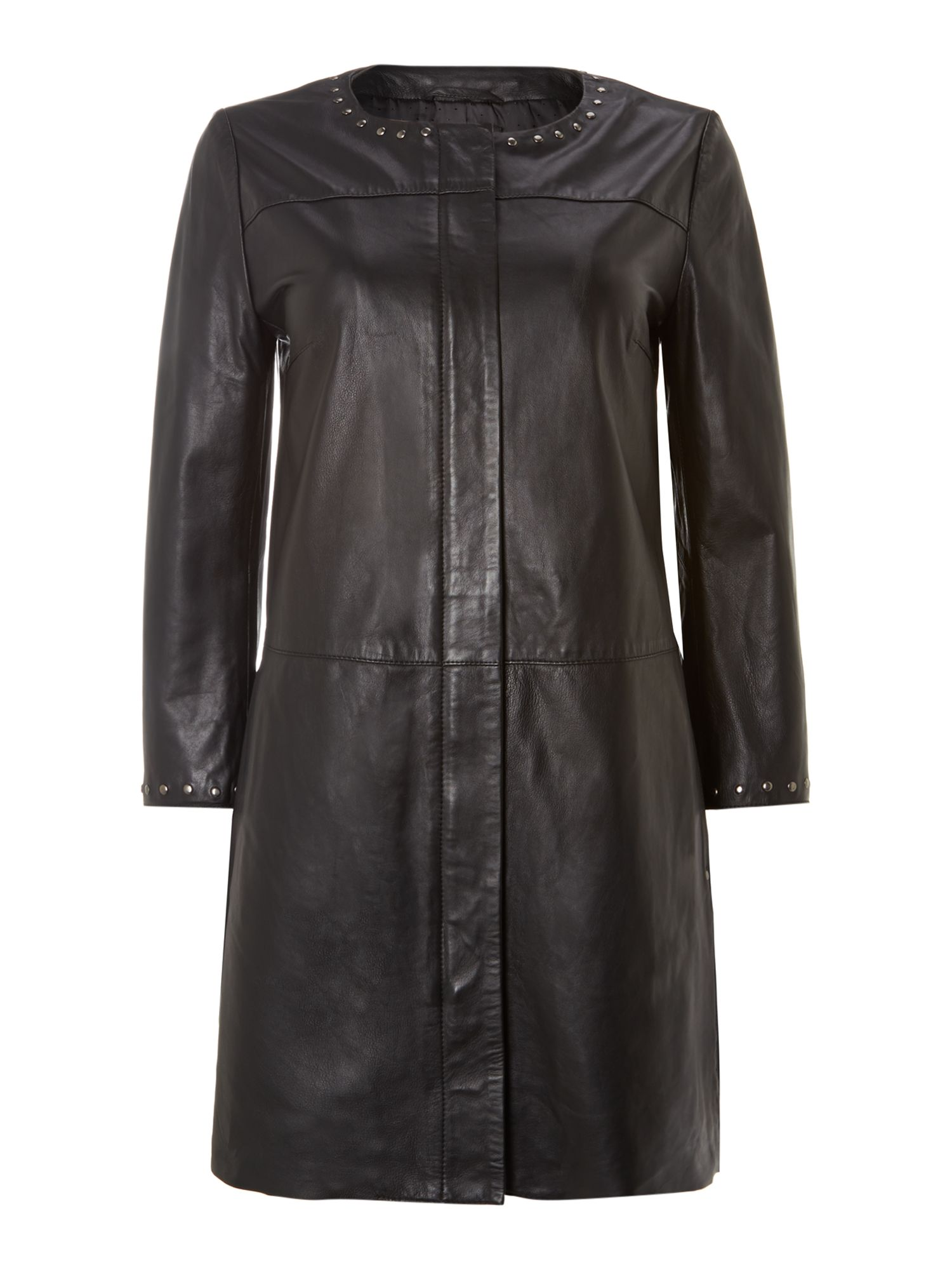 Cosmo long line leather coat with stud detail