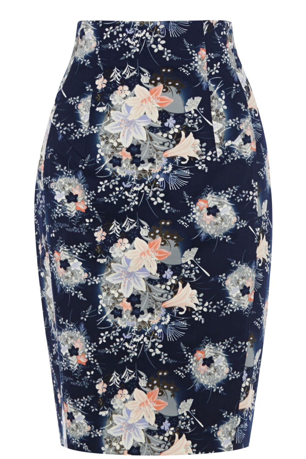 Oriental fan print pencil skirt