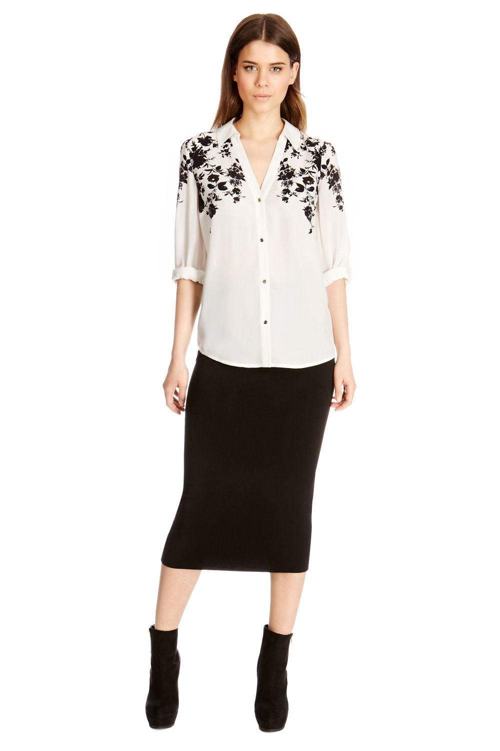 Floral placement viscose shirt
